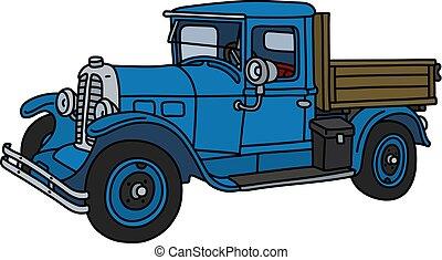 blå, årgång, lastbil