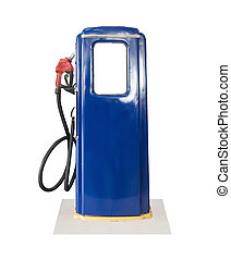 blå, årgång, pump, bakgrund, drivmedel, vit