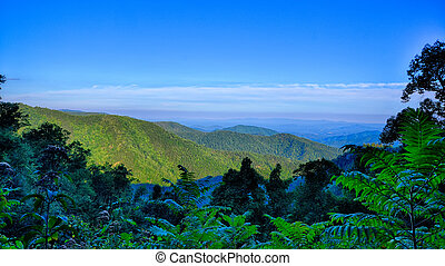 blå ås boulevard, nationalparken, solnedgång, scenisk, mountains, sommar