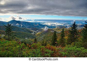 blå ås boulevard, nationalparken, soluppgång, scenisk, mountains, höst landskap