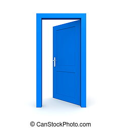 blå, öppna, singel, dörr