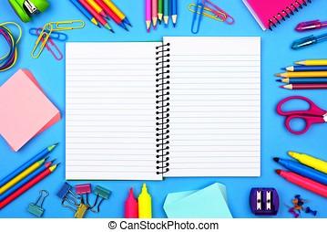 blå, öppna, skola, ram, anteckningsbok, bakgrund, tom, skaffar, fodra, över