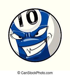 blå, 10, boll, ansikte, ilsket, numrera, färg, tecknad film, slå samman