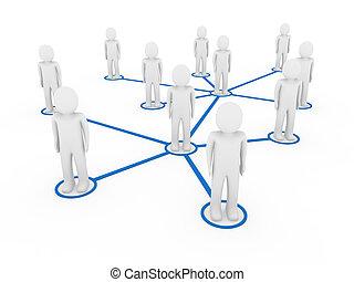 blå, 3, män, nätverk, social
