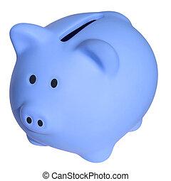 blå, a, piggy packa ihop