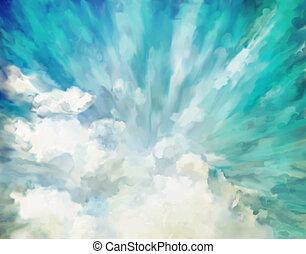 blå, abstrakt, artistisk, bakgrund
