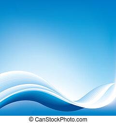 blå, abstrakt, bølge, baggrund