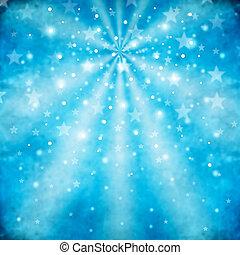 blå, abstrakt, baggrund, stjerner