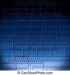 blå, abstrakt, bakgrund, med, filmstrips