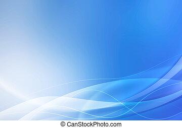 blå, abstrakt, bakgrund, vågor