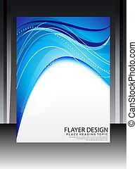 blå, abstrakt, flayer, konstruktion
