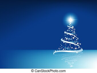 blå, abstrakt, jul