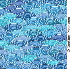 blå, abstrakt, krullat, vågor