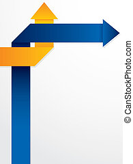blå, abstrakt, pilar, broschyr, design, apelsin