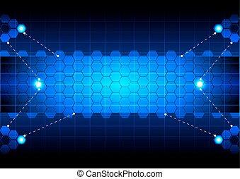 blå, abstrakt, sekskant, teknologi