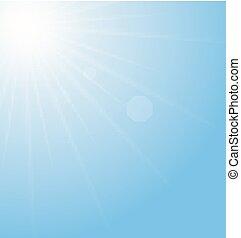blå, abstrakt, sunburst, bakgrund
