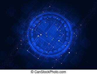blå, abstrakt, teknologi, baggrund