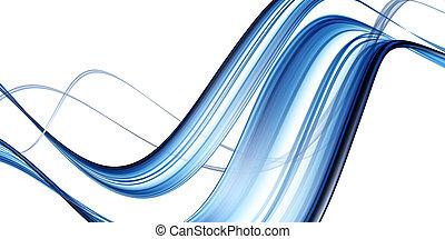 blå, abstrakt, våg