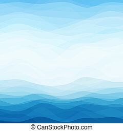 blå, abstrakt, vågig, bakgrund
