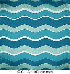 blå, abstrakt, vågor, bakgrund