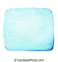 blå, abstrakt, vattenfärg, bläck få syn på, isolerat, vita, bakgrund., hand, oavgjord, färg, plaska