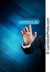 blå, affär, knapp trycka, oss, hand, toucha, kontakta, bakgrund, gräns flat, avskärma, kvinnor