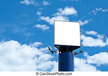 blå, affischtavla, över, sky, tom