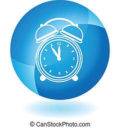blå, alarm ur, transparent, ikon