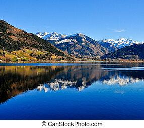 blå alpin, insjö, landskap, synhåll, med, fjäll, reflexion
