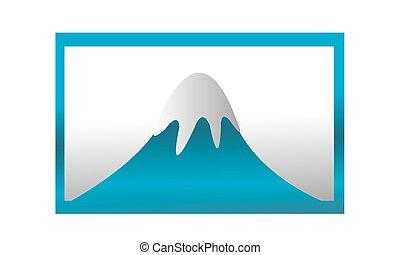 blå alpin, ram, alaska, is, höjande, logo, baner, dag, firande