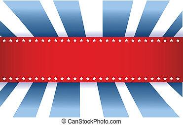 blå, amerikan flagga, vit, design, röd