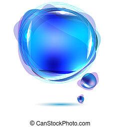 blå, anförande, abstrakt, bubbla
