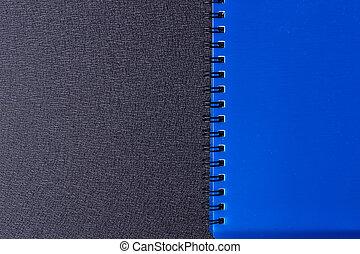 blå, anteckningsblock, på, a, spiral