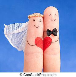 blå, använda, begrepp, nygift person, målad, bröllop, -, fingrar, mot, bra, inbjudan, kort, sky