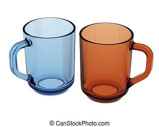 blå, apelsin, kopp