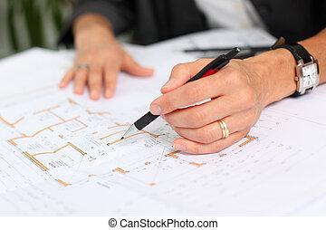 blå, arbejder, arkitekt, skrivebord, hænder, tryk