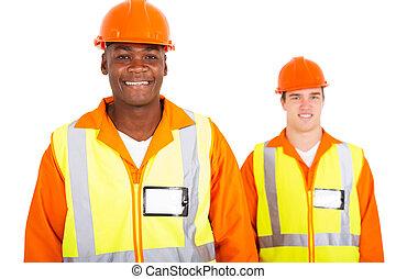 blå, arbetare, krage, afrikansk