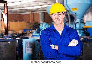 blå, arbetare, krage