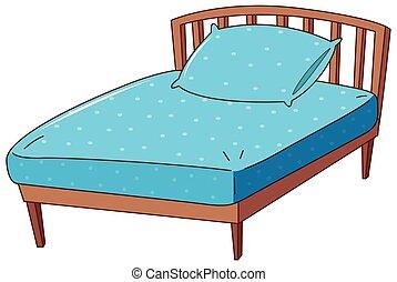 blå, ark, kudde, säng