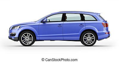 blå, automobil, luksus, suv., isoleret, på, white.
