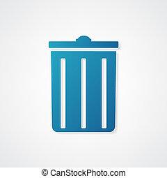 blå, avfallcan, ikon
