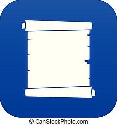 blå, avis, retro, digitale, scroll, ikon