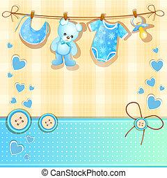 blå, baby duscha, kort