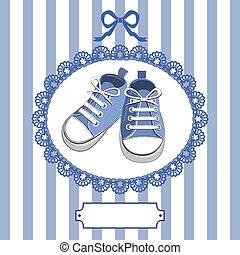 blå, baby, ram, skor