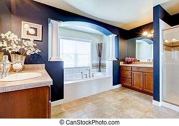 blå, badrum, bada, shower., lyxvara, vit, sänka