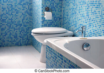 blå, badrum