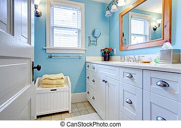 blå, badrum, lott, lagring, space., vit