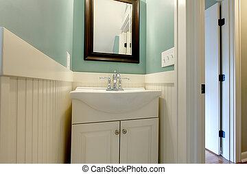 blå, badrum, nymodig, grön, lyxvara, frisk, vit, sänka