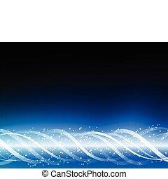 blå, baggrund., glødende, linjer, farverig