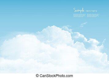 blå, baggrund., vektor, himmel, clouds.